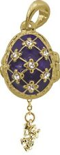 Faberge Egg Pendant / Charm with Angel 2.1 cm blue #2-1026