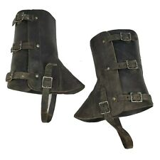 Vtg 1970's Swiss Military Leather Gaiters Harley Boots Snakes Hiking Steampunk