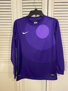 Nike Dri-Fit Long Sleeve Boys Park IV Goalkeeping Jersey Purple Size Large