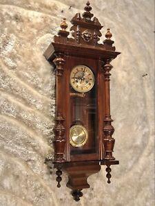 Vintage Antique Germany F.M.S.Wall Striking Vienna  Clock,Walnut Case & Pendulum