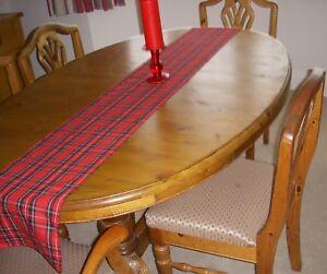 CHRISTMAS BURNS NIGHT TABLE RUNNER RED TARTAN  180cm x 26cm Decoration Straight