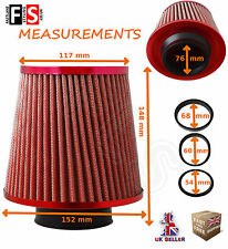 UNIVERSAL RED K&N TYPE UNIVERSAL FREEFLOW PERFORMANCE AIR FILTER & ADAPTERS-VA-2