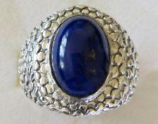 Men's Lapis Lazuli Ring / size 9 / 925 Sterling Silver, 9.4 grams