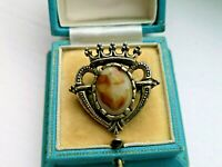 Vintage Jewellery Signed Miracle Scottish Celtic  Luckenbooth  marble brooch