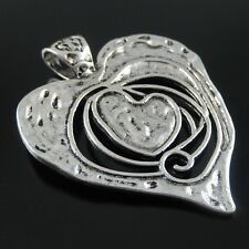 32923 Antiqued Silver Tone Retro Melting Double Heart Necklace Pendant Charm 3pc