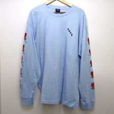 New Mens OBEY Light Blue Roses Rose Patten Long Sleeve Graphic T-Shirt Sz Small