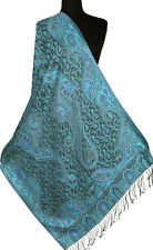 Shades of Blue Silk Jamawar Shawl with Black. Reversible Paisley Jamavar
