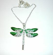 Beautiful large sparkly green enamelled dragonfly necklace
