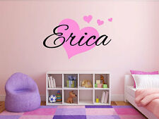 Personalized Hearts Name Monogram Girls Bedroom Vinyl Wall Decal Graphics