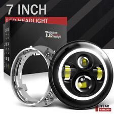 """7"""" LED Black Headlight For for Harley Touring Yamaha V-Star 650 950 1100 1300"""