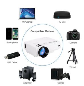DBPower Full HD 6000 Lumen 1080P Portable Home Theater Movie Video LCD Projector