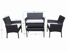 More details for rattan garden furniture set 4 piece chairs sofa table seater patio conservatory