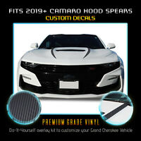 For 2019+ Chevy Camaro Hood Spears Graphics Vinyl Decals - Matte Carbon Fiber