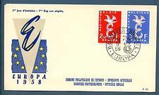 """BELGIUM - BELGIO - 1958 - Europa - FDC - Lettera """"E"""" e colomba"""