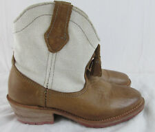 Vintage Shoe Company Leather & Canvas Ankle Boots Women's Sz 6 Western Tassels
