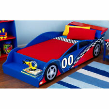 KidKraft Racecar Low to Ground Sturdy Kids and Toddler Bed with Bench, Blue