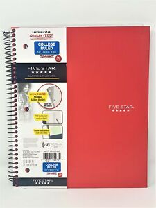 """Five Star College Ruled 3 Subject Notebook 11"""" X 8-1/2"""" Movable Dividers Coral"""