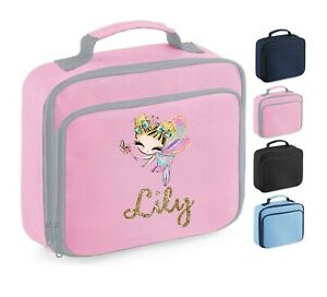 Personalised School Lunch Bag, Girly Fairy Princess + Name, Choice of Colour,101