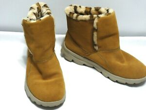 Women's Sketchers Performance On The Go City Suede Leopard Boots Size 8 VGC