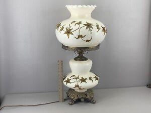 "Large Carl Falkenstein Style GWTW Hurricane Lamp Applied Bronze Flowers 26"" Tall"