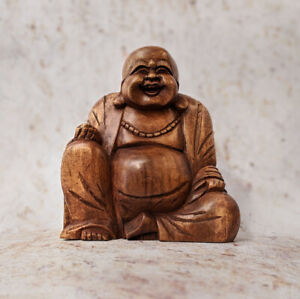Laughing Buddha Statue Wooden Hand Carved Laughing Chinese Clearance