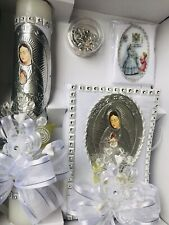 Silver First Communion Candle Set Girl Gift Vela Primera Comunion Niña ENGLISH