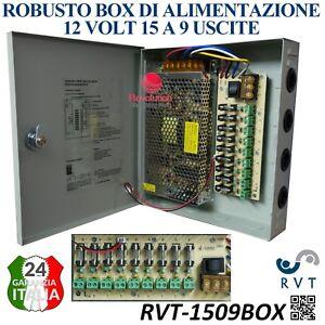 Box di Alimentazione  9 Uscite 12 VOLT 15 A con Fusibili ideale Per Telecamere