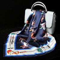 100% Silk Women's Fashion Horse Print Navy Blue Scarf Soft Bandana Tie Band 53cm