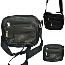 Mens Unisex Small Black Soft PU Leather Cross Body Over Shoulder Travel Side Bag