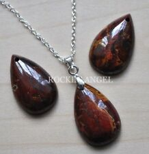 925 Silver Necklace &  Red Jasper & Pyrite Teardrop Pendant Reiki  Ladies Gift