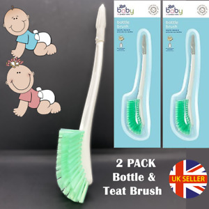 x2 Long Handle Bottle Brush Bristles 2-in-1 Curve Head Teat Washing Up Baby NEW