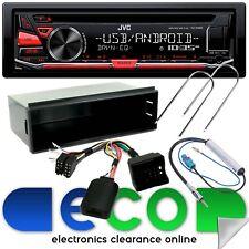 Peugeot 207 2006 JVC CD MP3 Usb Auxiliar Estéreo para Auto Rojo & Kit De Montaje Volante