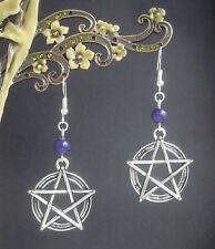 Vintage Style Pentagram Purple Amethyst Bead Dangly Earrings - Wicca Pagan Witch