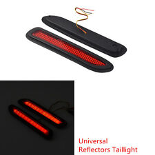 2 Pcs Car Red Lens LED Rear Bumper Reflectors Taillight Brake Fog Warning Light