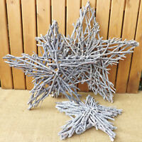 Rustic Wooden Grey Washed Twig Star Decoration Home Wedding Christmas 3 Sizes