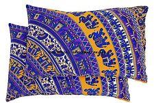 Elephant Mandala Cotton Bedding Decor 2 Pcs Set Blue Pillow Sham Cushion Cover
