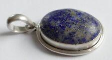 Anhänger marmorierter blauer Edelstein Vintage 60er 925 Silber Pendant Silver