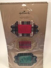 Hallmark Christmas Gift Trims 3-count Ribbon Tag Buckle Plaid Gold Glitter