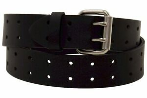 Dickies Men's Genuine Bridle Leather Belt Double Prong Black