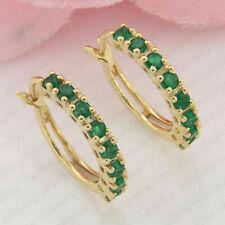 1.00 Ct Round Cut Green Emerald Huggie Hoop Earrings 9ct Yellow Gold Finish