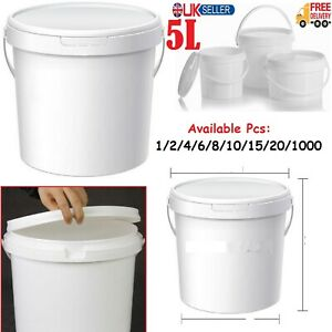 5 Litre White Plastic Bucket With Lid Handle Container Storage Box Bin Tub Caddy