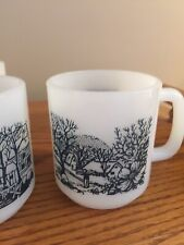 Lot Of 5 Vintage Glasbake Mugs, Blue & White Farm Design Milk Glass