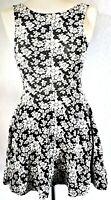 H&M Women's Dress Black White Size 10 Cotton Mix Floral Skater VGC