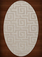 Ivory Transitional Hand Hooked Squares Curls Blocks Area Rug Geometric DV13