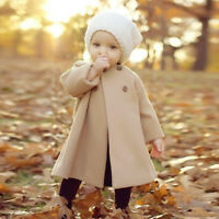 Winter Kids Baby Girl Cloak Solid Button Long Jacket Warm Thick Coat Clothes Set