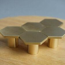 Hexagon Brass Kitchen Cabinet Drawer Knobs Handles Cupboard Door Pulls