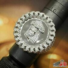 Mens White Gold Finish .925 Silver Cuban Link Bezel Ring Jesus Piece