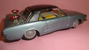 VTG BANDAI FORD MUSTANG JAPAN TIN LITHO BATTERY OP. TOY CAR 1960's