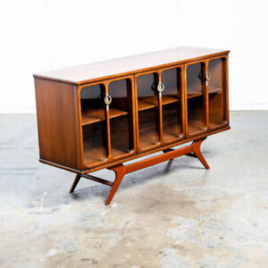 Mid Century Modern Credenza Sideboard Sculptural Low Wide Large Glass Brass Mcm