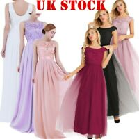 UK Women Lace Tulle Wedding Bridesmaid Maxi Dress Prom Cocktail Party Ball Gown